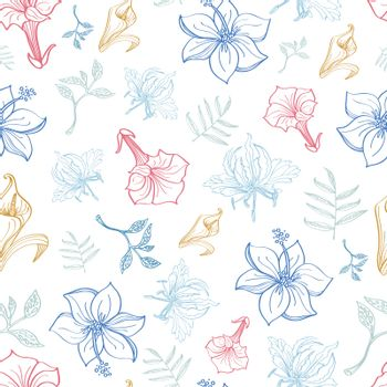 Vector Exotic Florals Drawing Seamless Pattern graphic design