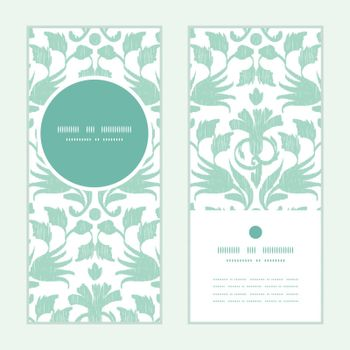 Vector abstract green ikat vertical round frame pattern invitation greeting cards set graphic design