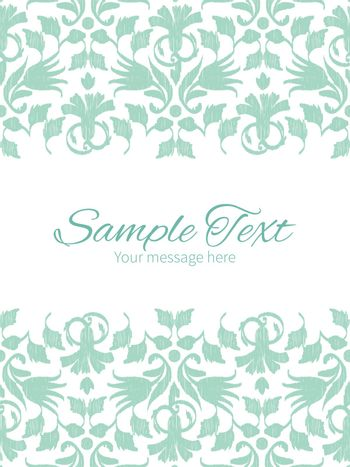 Vector abstract green ikat vertical double borders frame invitation template graphic design