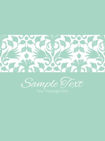 Vector abstract green ikat stripe frame vertical card invitation template graphic design