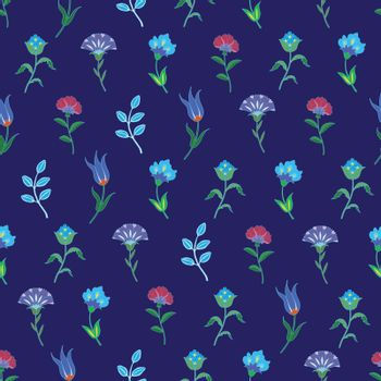 Vector Geometric Growing Flowers Seamless Pattern graphic design