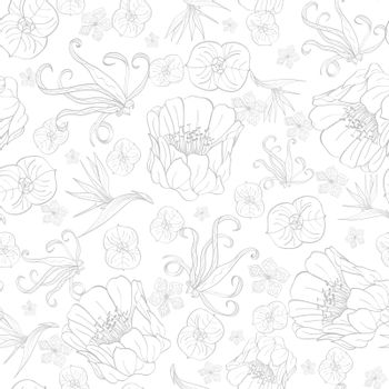 Vector Gray Drawing Tropical Flowers Seamless Pattern graphic design
