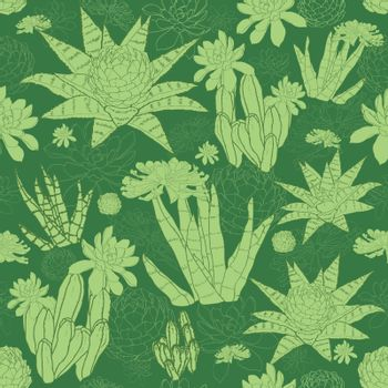Vector Green Lineart Succulents Seamless Pattern graphic design