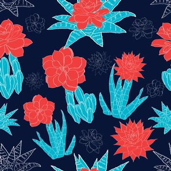 Vector Night Desert Cacti Flowers Seamless Pattern graphic design