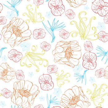 Vector Vibrant Tropical Orange Blue Flowers Seamless Pattern graphic design
