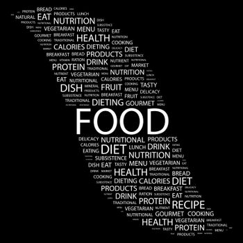 FOOD. Concept illustration. Graphic tag collection. Wordcloud collage.