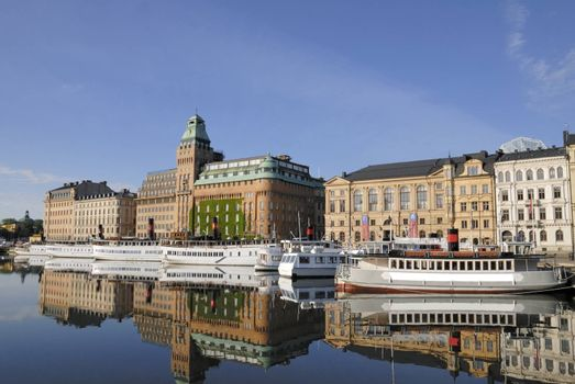 Stockholm embankment with boats.        Stockholm embankment with boats