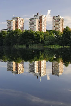 "Residential builduings near a lake ""Trekanten"" in Stockholm - Sweden."