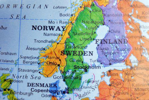 Closeup map of scandinavia in bright colors.