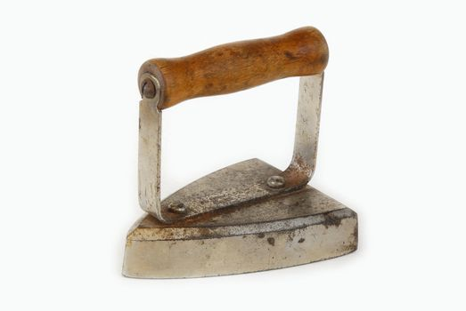 Old iron over white background