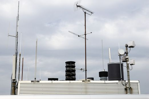 A Communications tower on top of a building