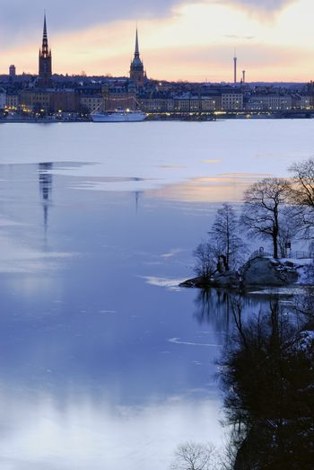 Stockholm silhouette with famous landmarks.