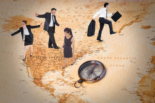 Businesswoman performing a balancing act against world map with compass showing north america