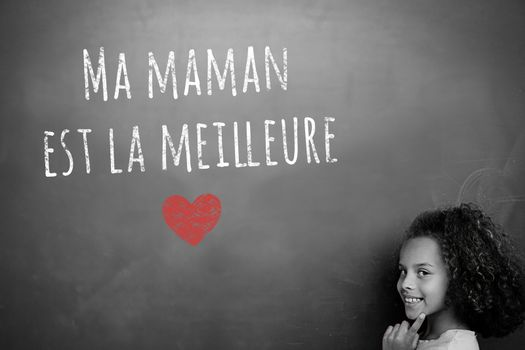 French mothers day message against schoolchild with blackboard