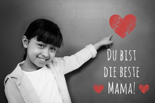 German mothers day message against schoolchild with blackboard