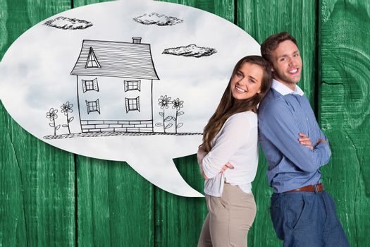 Composite image of portrait of happy couple back to back