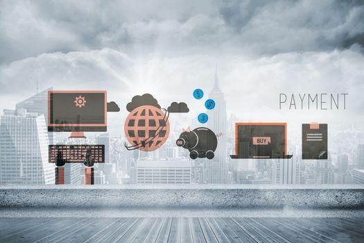 Composite image of e commerce graphics