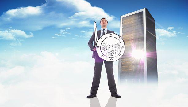 Composite image of corporate warrior