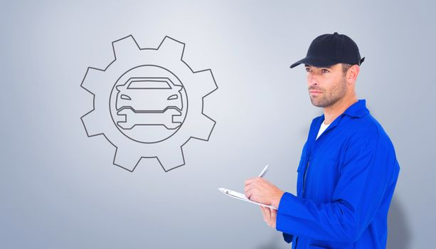Composite image of mechanic in blue overalls writing on clipboard