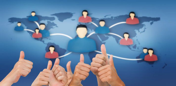 Hands giving thumbs up against communication between people from various continents