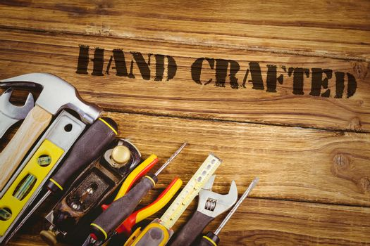 Hand crafted against tools on desk