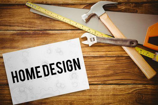 Home design against white card
