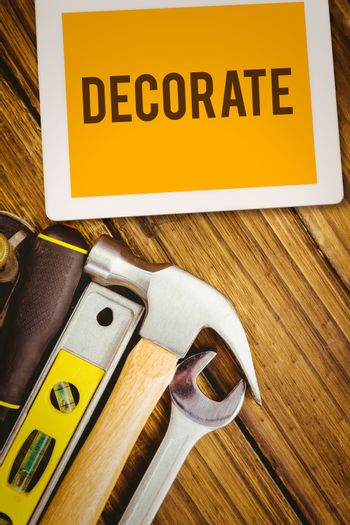 Decorate  against desk with tools
