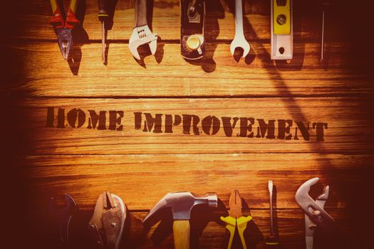 Home improvement against desk with tools