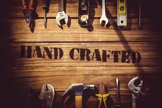 Hand crafted against desk with tools