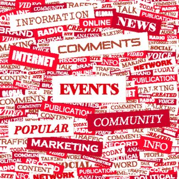 EVENTS. Concept illustration. Graphic tag collection. Wordcloud collage.
