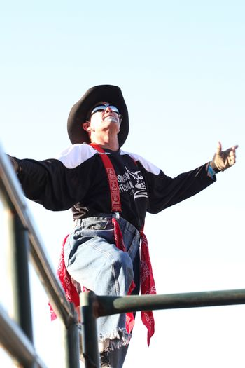 MERRITT, B.C. CANADA - May 30, 2015: Rodeo clown at the 3rd Annual Ty Pozzobon Invitational PBR Event.