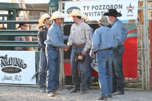 MERRITT, B.C. CANADA - May 30, 2015: Winner of The 3rd Annual Ty Pozzobon Invitational PBR Event.