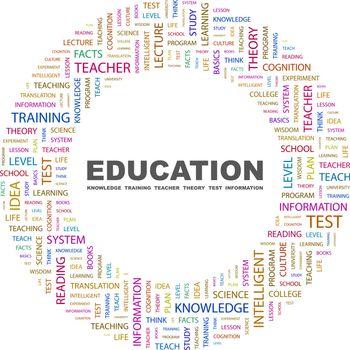 EDUCATION. Word cloud concept illustration. Wordcloud collage.