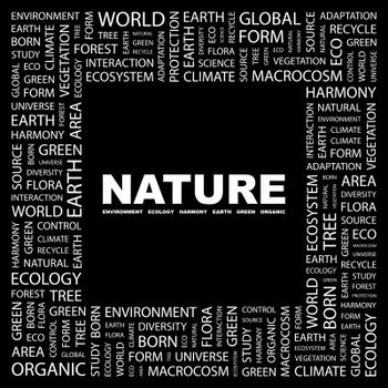 NATURE. Word cloud illustration. Tag cloud concept collage.