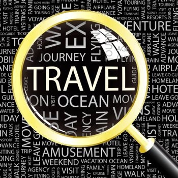 TRAVEL. Word cloud illustration. Tag cloud concept collage.
