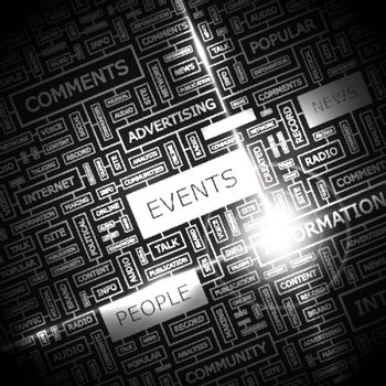 EVENTS. Word cloud concept illustration. Wordcloud collage.