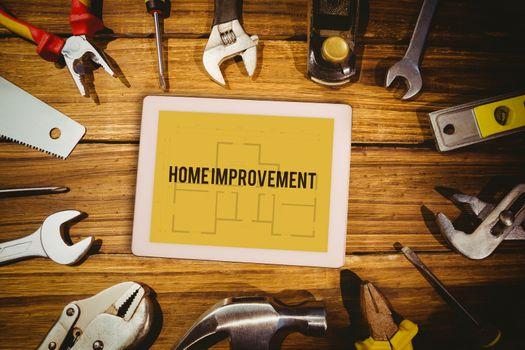 Home improvement against blueprint