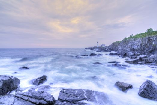 Portland Head Lamp and rocky Maine coastline