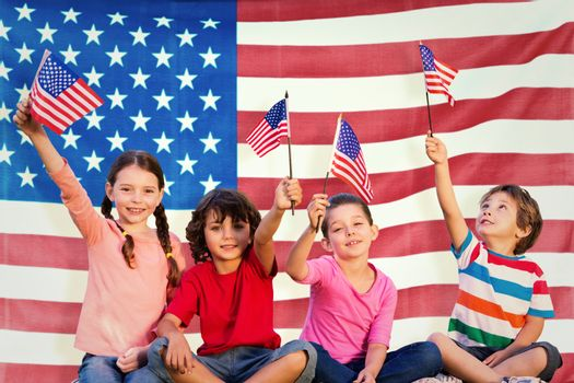 Composite image of children with american flags