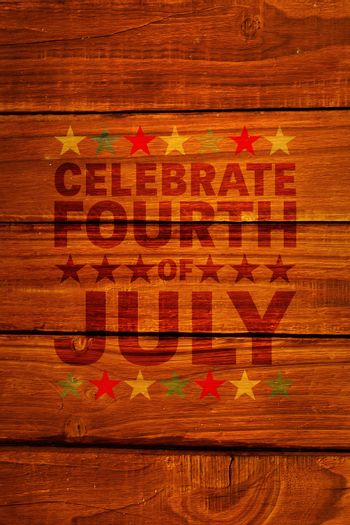 Celebrate fourth of july against overhead of wooden planks