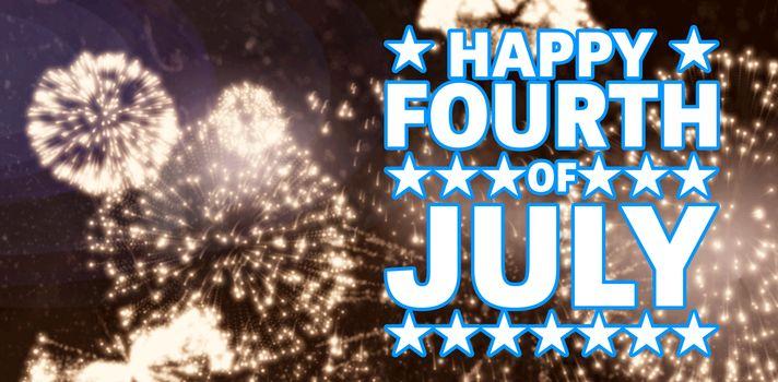 Happy fourth of july against white fireworks exploding on black background