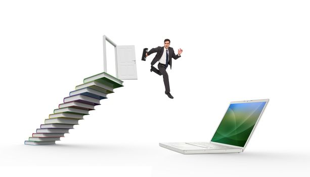 Composite image of stern businessman in a hurry