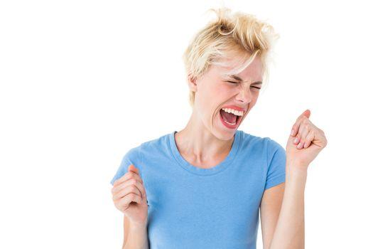 Furious blonde woman shouting