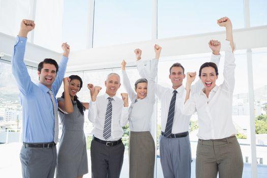 Business team celebrating a good job