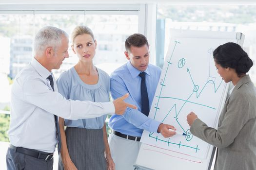 Business team talking about the graph on the whiteboard