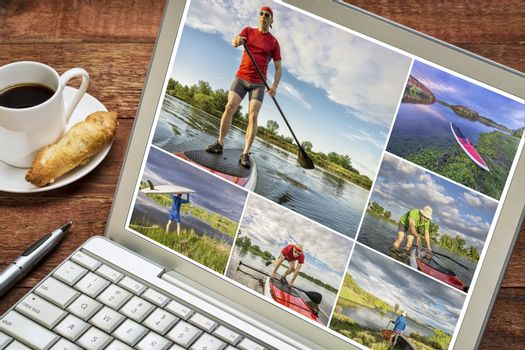 reviewing pictures of stand up paddling featuring a 60 year old  male on a laptop with a cup of coffee. All screen pictures copyright by the photographer with the same model (self).