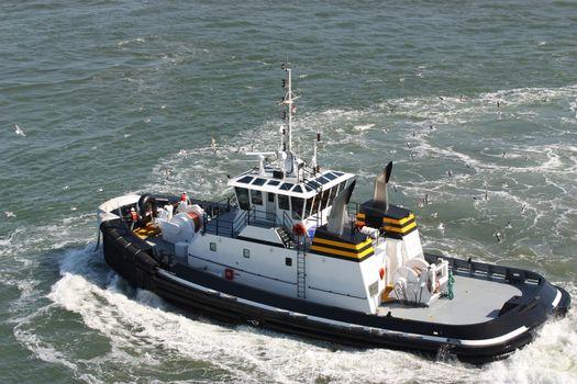 Coast guard boat in the ocean