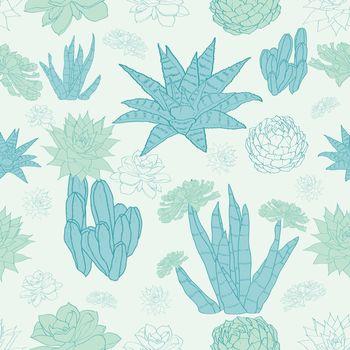 Vector Desert Cacti Seamless Pattern graphic design