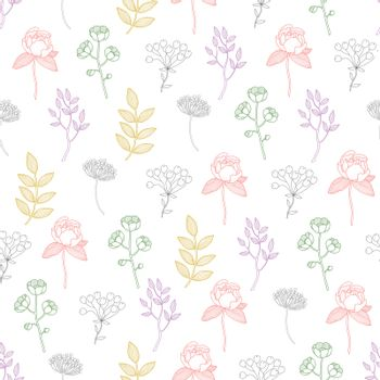 Vector Colorful Growing Plants Line Art Seamless Pattern graphic design