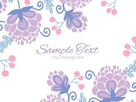 Vector soft purple flowers horizontal double corners frame invitation template graphic design